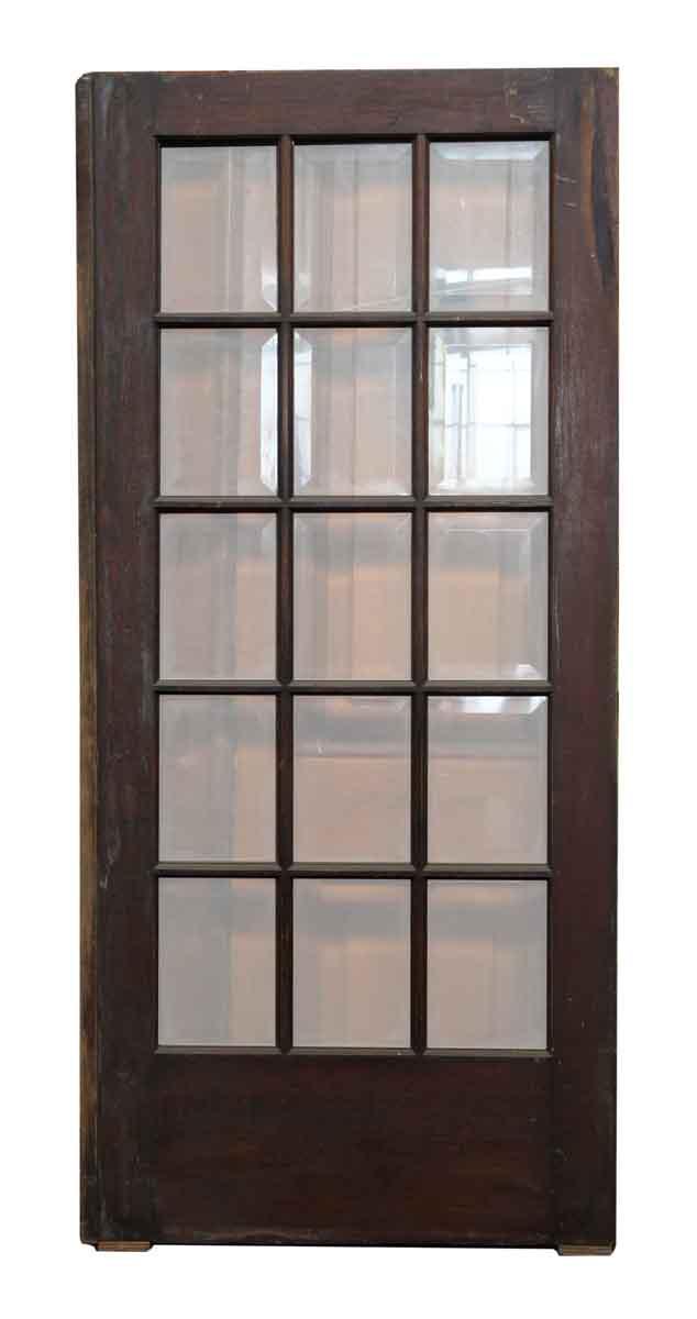 Dark wood door with 15 beveled glass panels olde good things for 15 panel wood door