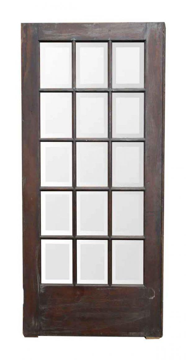Dark Wood Door with 15 Beveled Glass Panels