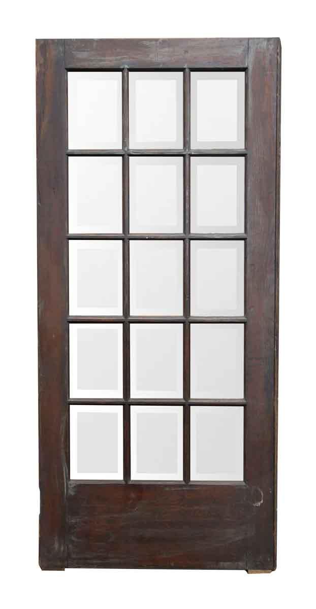 Dark Wood Door With 15 Beveled Glass Panels Olde Good Things