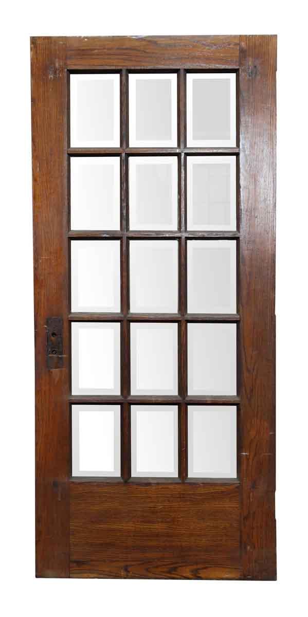 15 Beveled Glass Panel Wooden Door