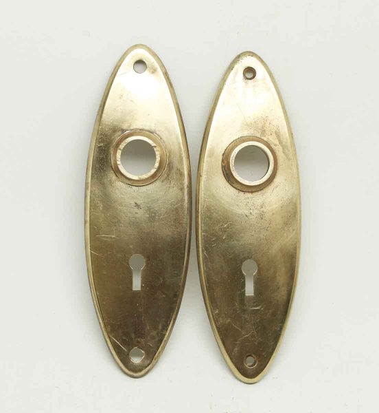 Pair of Plain Brass Oval Back Plates