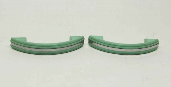 Pair of Green & Silver Plastic Deco Pulls