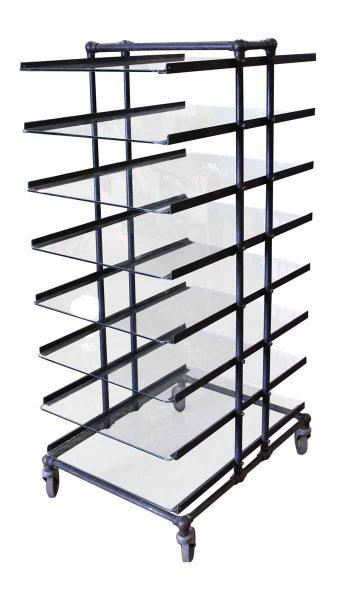 Eight Glass Shelf Storage Unit