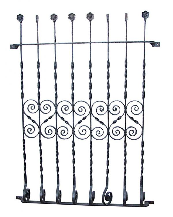 Black Window Guard with Floral and Swirl Details