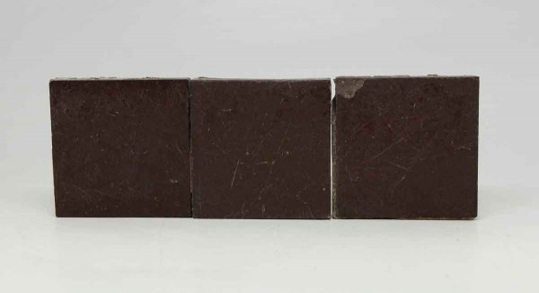 Set of 24 Matte Brown Square Tiles