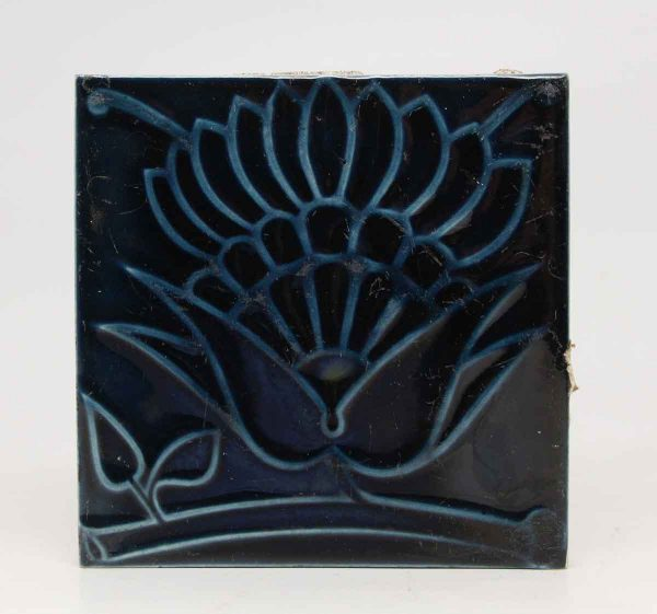Decorative Blue Floral Single Tile