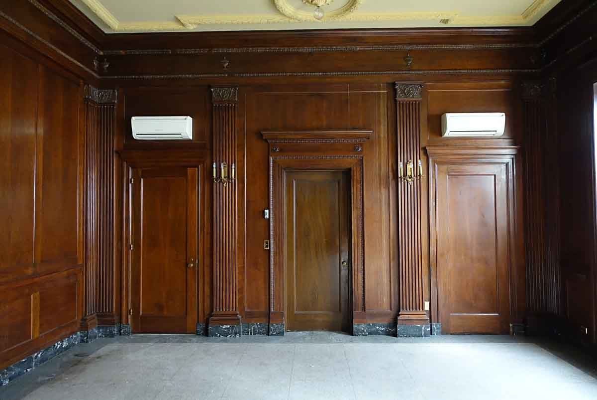Neoclassical Walnut Panel Room With Grand Carved Mantel