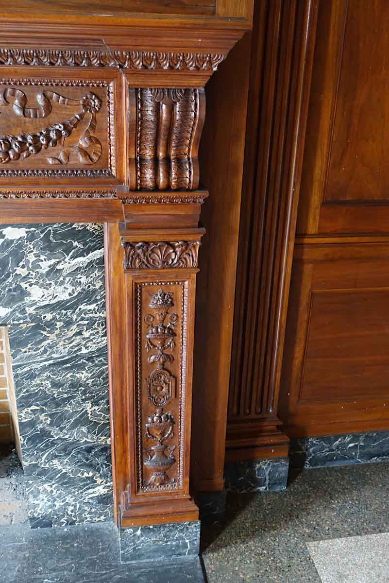 Neoclassical Walnut Panel Room with Grand Carved Mantel   Olde Good ...