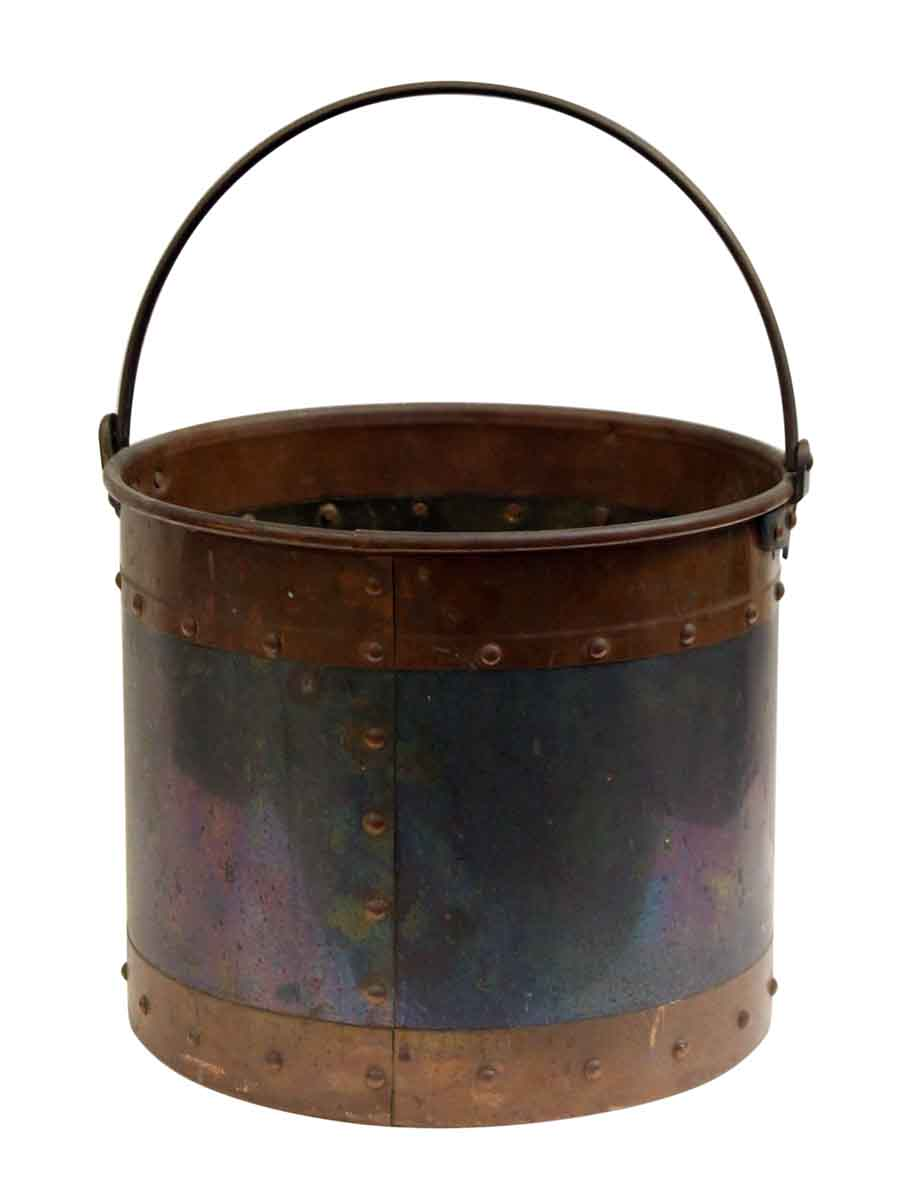 Studded metal bucket with copper band olde good things
