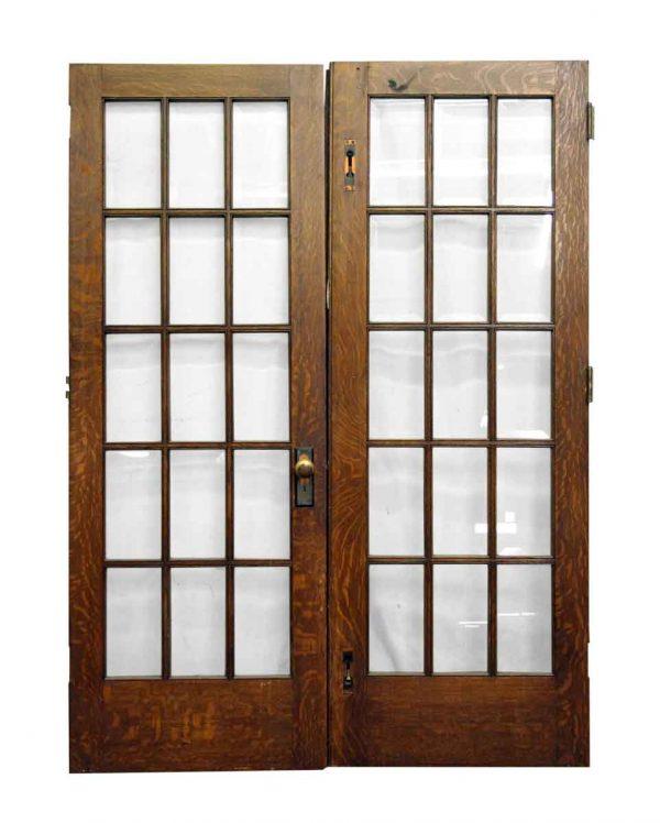 Pair of 15 Glass Panel Wooden Doors