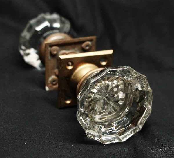 Fluted Glass Doorknob Set with Square Rosettes