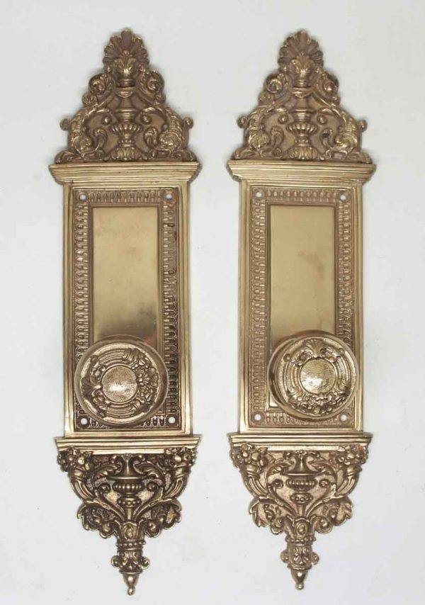 Gilded Bronze Pair of Knobs & Back Plate Set