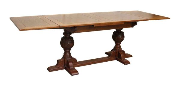 Wood Table with Carved Legs & Extensions