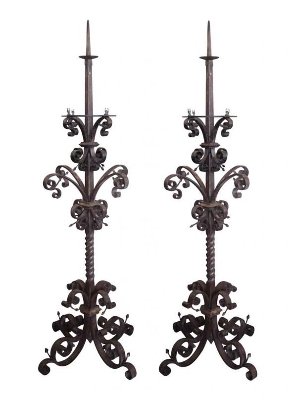 Pair of 19th Century Wrought Iron Candelabras