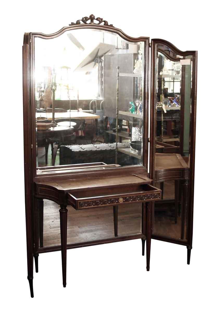 Tri Fold Mirror Amp Wood Vanity Table Olde Good Things