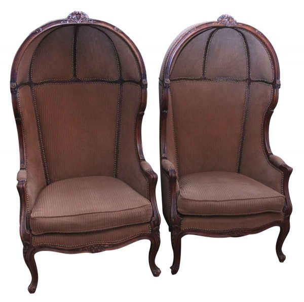 Pair of Louis Xiv Porter Chairs with Carved Details
