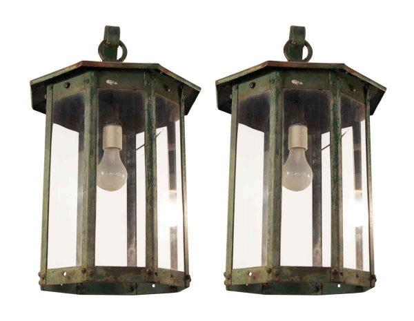 Pair of Steel Exterior Lantern Sconces