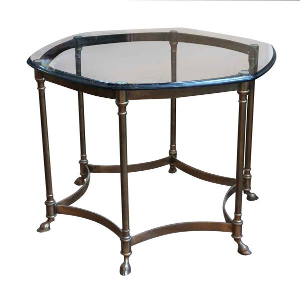 Glass Table with Hoofed Feet Brass Frame