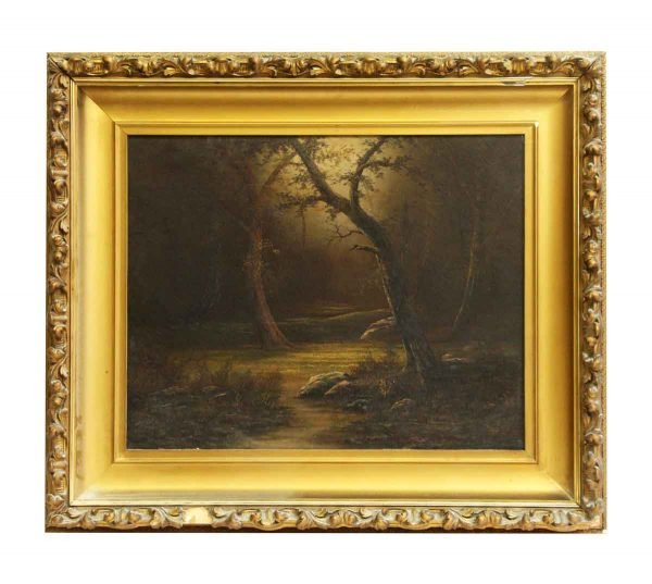 Scenic Woods Painting with Ornate Frame