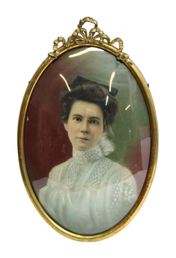 Framed Vintage Oval Portrait of a Woman