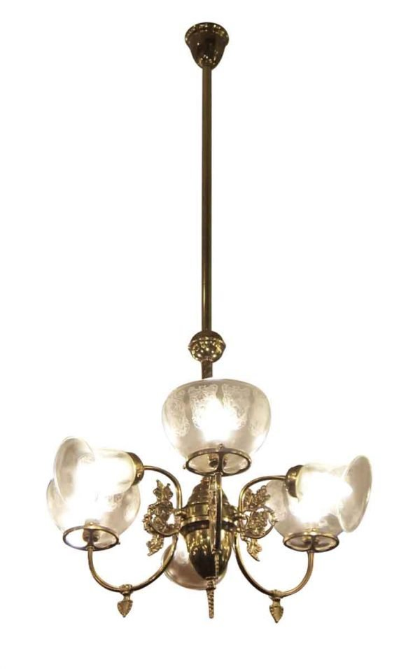 Six Arm Brass Gas Style Chandelier