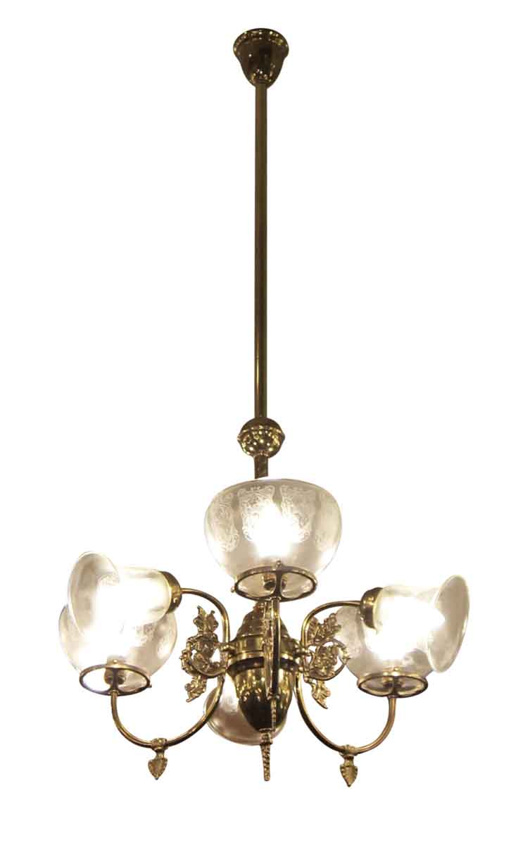 Six Arm Brass Gas Style Chandelier Olde Good Things