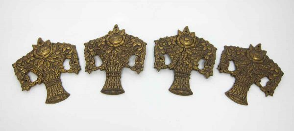 Vintage Set of Four Floral Bronze Furniture Accents