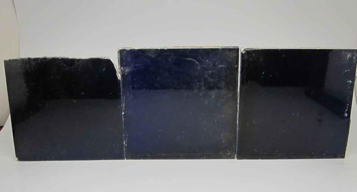 Set of Three Dark Blue Tiles