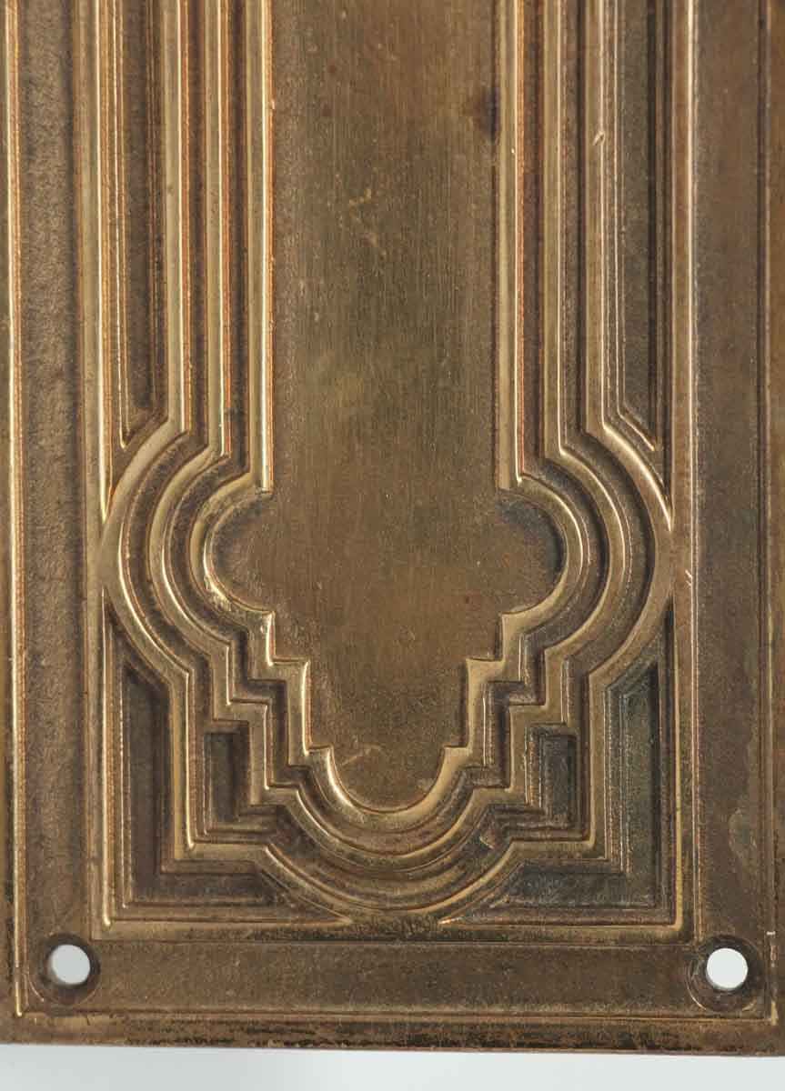 Cast Bronze Highly Decorative Gilded Push Plate Olde