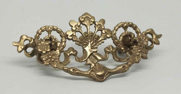 Large Single Gilded Brass Ornate Pull