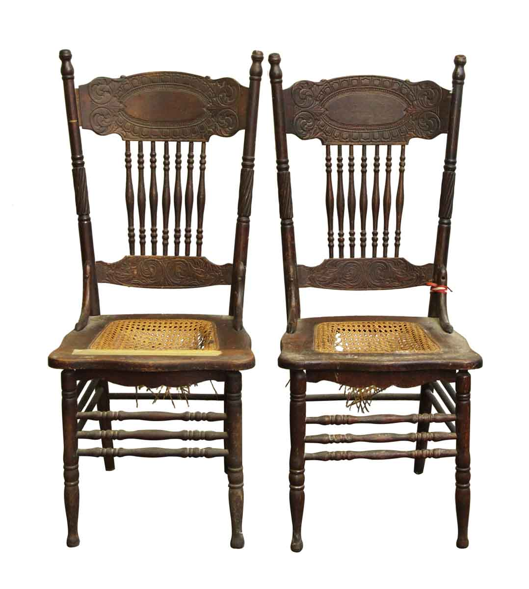 Antique Wooden Kitchen Chairs: Pair Of Vintage Wooden Chairs