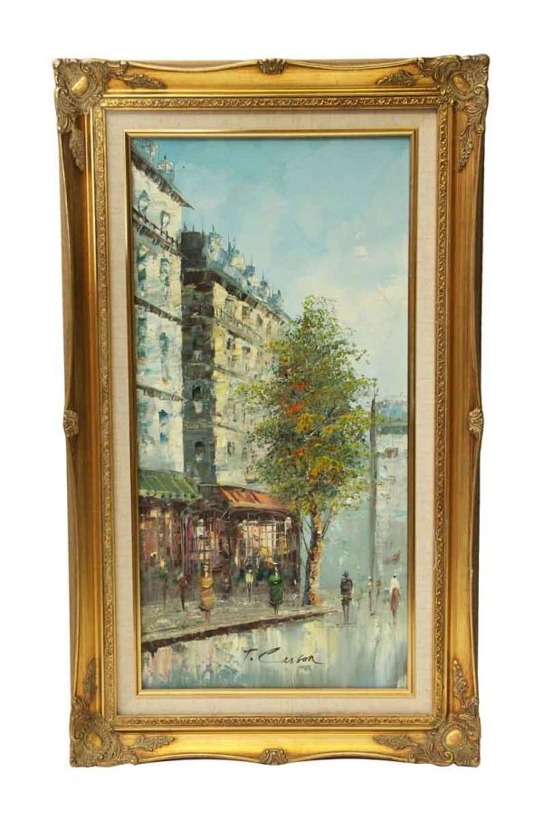 Scenic Ornate Framed French Oil Painting