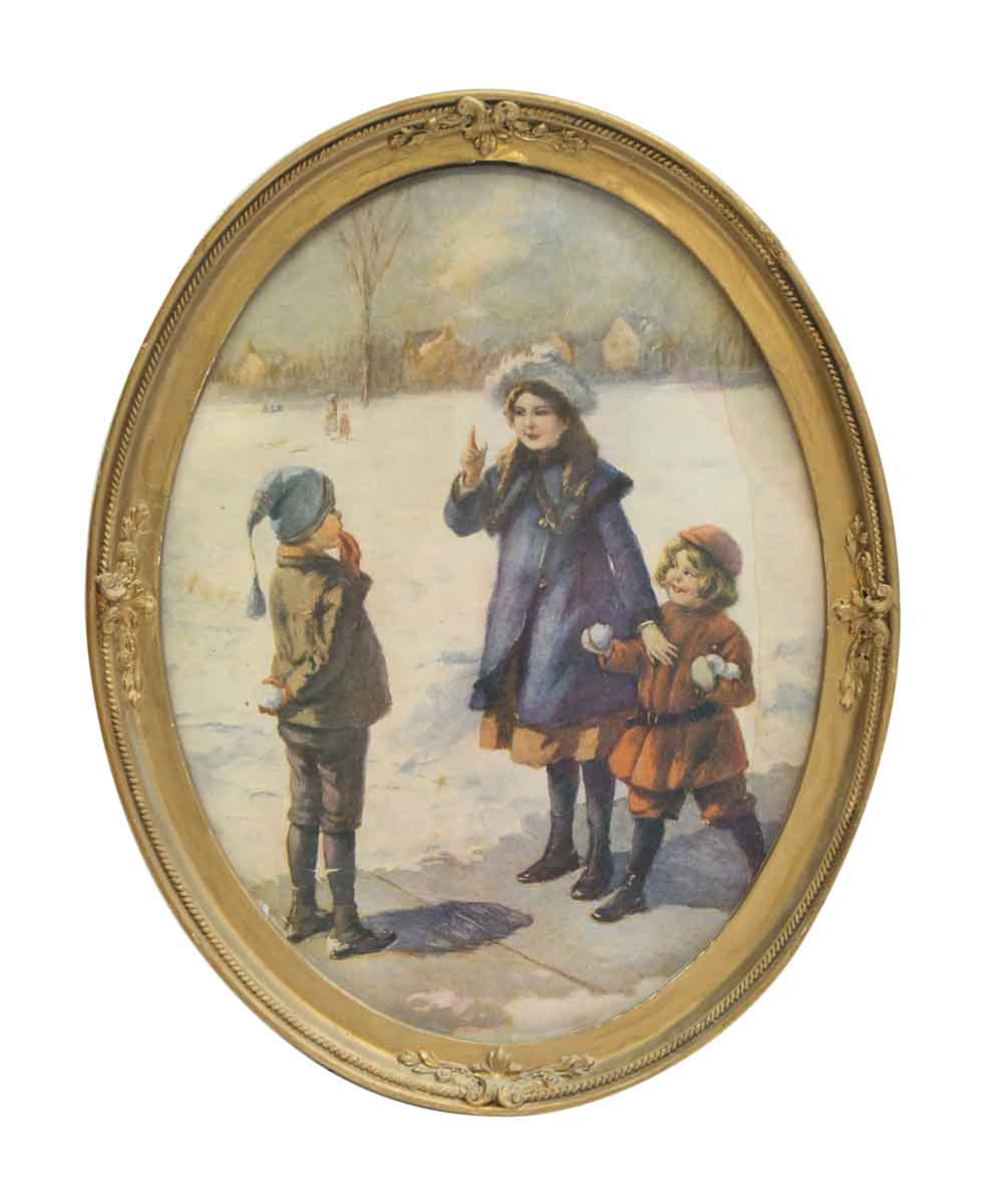 Oval Framed Portrait Of Three Children Playing In Snow
