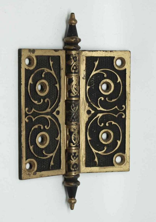 Pair of Gold & Black Steeple Tip Ornate Hinges