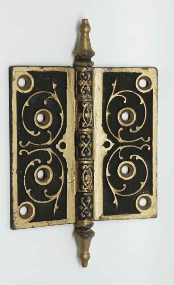 Pair of Ornate Gold & Black Hinges with Steeple Tips