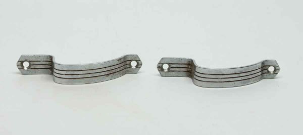Pair of Curved Deco Lined Chrome Pulls