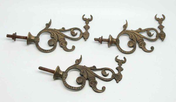 Set of Three Bronze Bull Horn Hooks