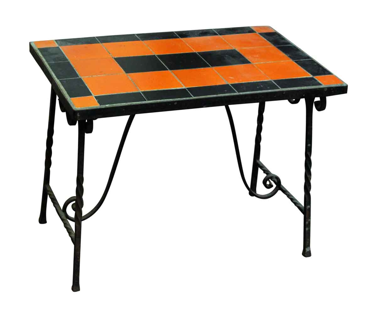 Orange Black Metal Patio Table Olde Good Things