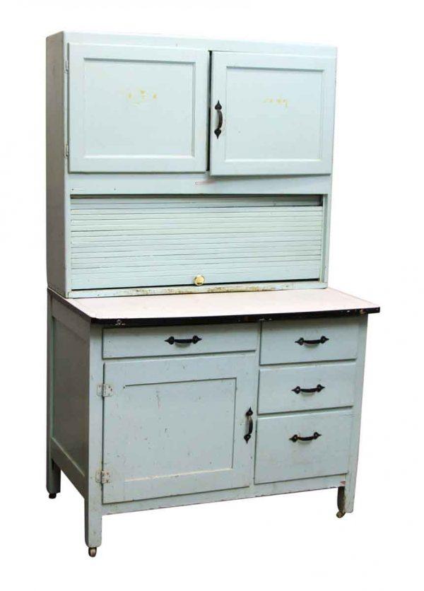 Light Blue Painted Hoosier Cabinet