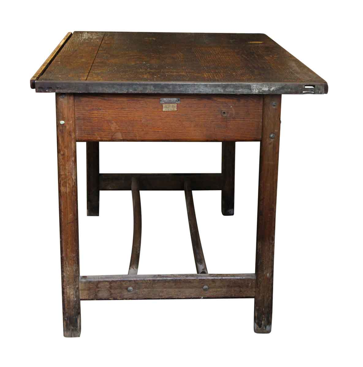 wooden architect s desk with one drawer olde good things
