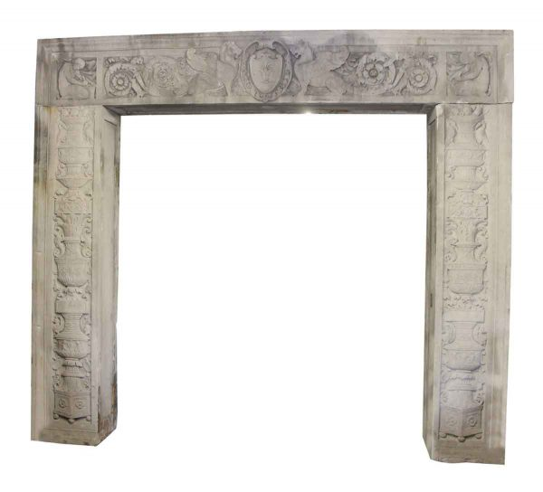 Large Three Piece Carved Limestone Entryway