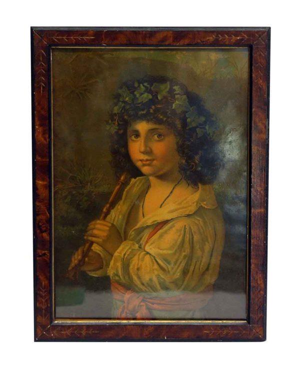 Framed Portrait with Carved Details