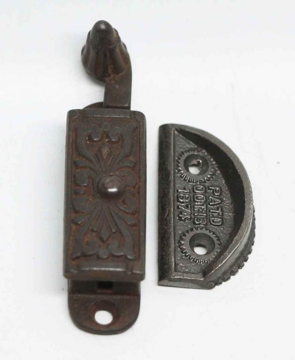 Single Antique Floral Iron Window Lock
