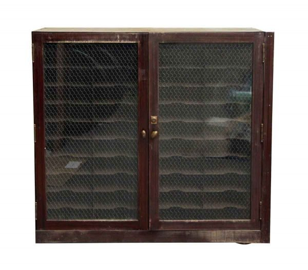 Metal Cabinet with Chicken Wire Glass Doors
