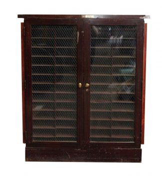 Nice Metal Cabinet With Double Chicken Wire Glass Doors