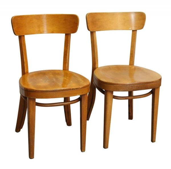 Pair of Light Stained Maple Thonet Chairs