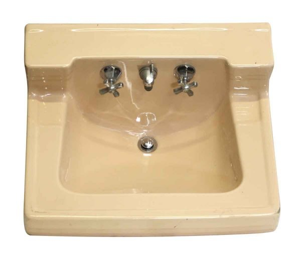 Salmon Pink Retro Wall Mount Ceramic Sink