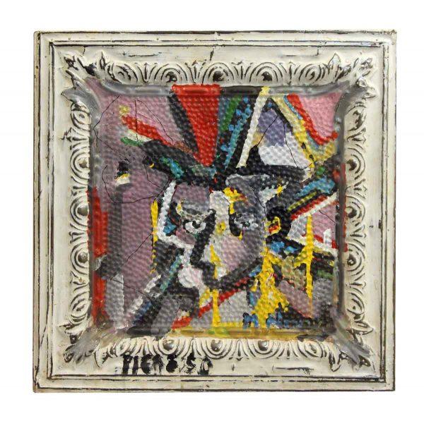 Colorful Novak Abstract Portrait Tin Panel