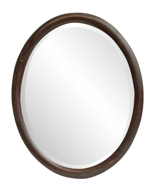 Oval Wood Frame Beveled Mirror