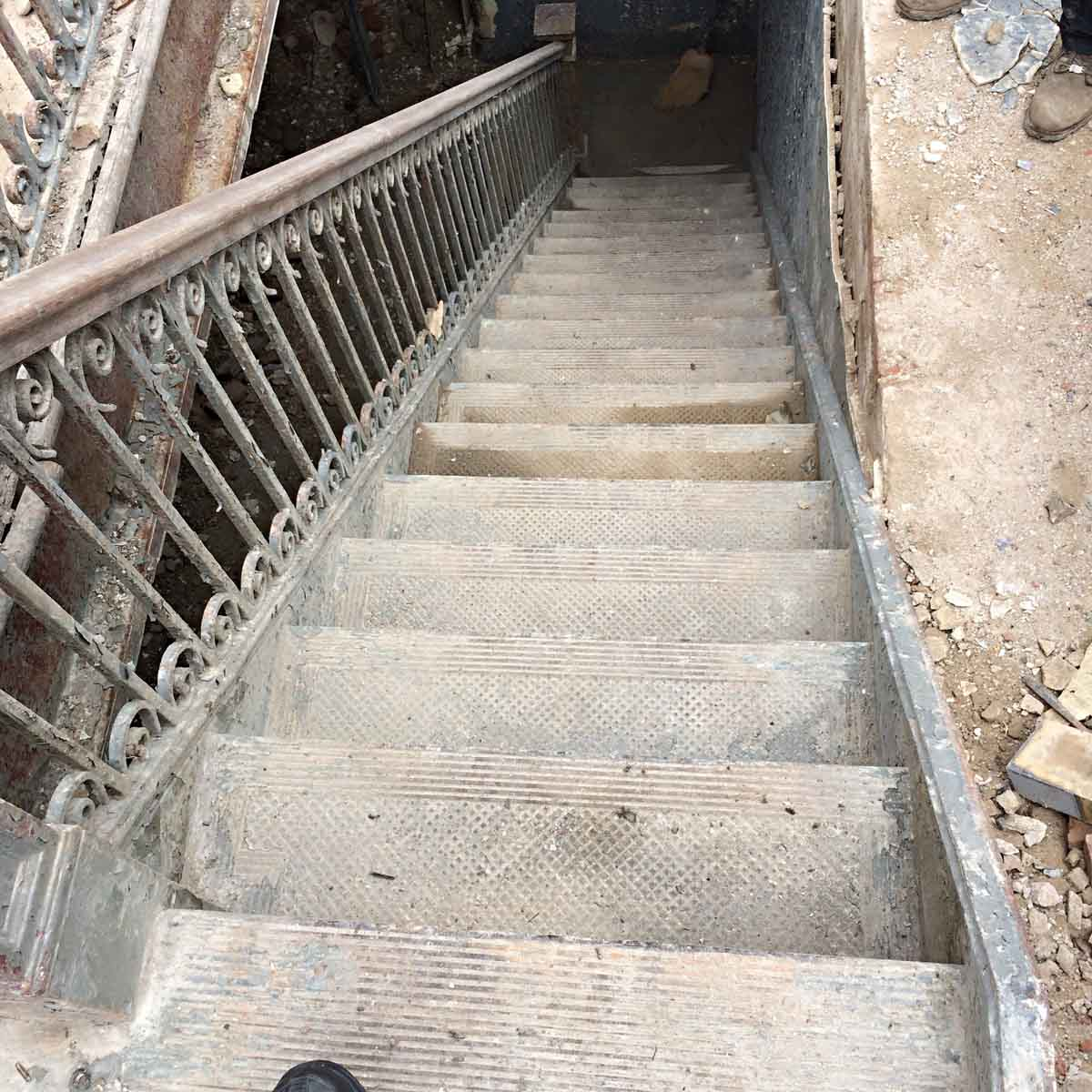 Early Cast Iron Industrial Stair Case Treads
